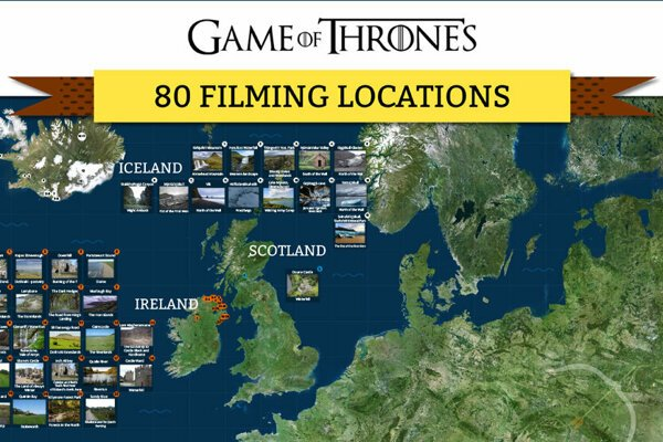 Game of Thrones - map of 80 filming locations.