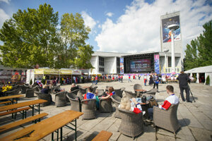 The fan zone during the 2019 Ice-Hockey World Championships is located near the Trnavské mýto crossroads in Bratislava.