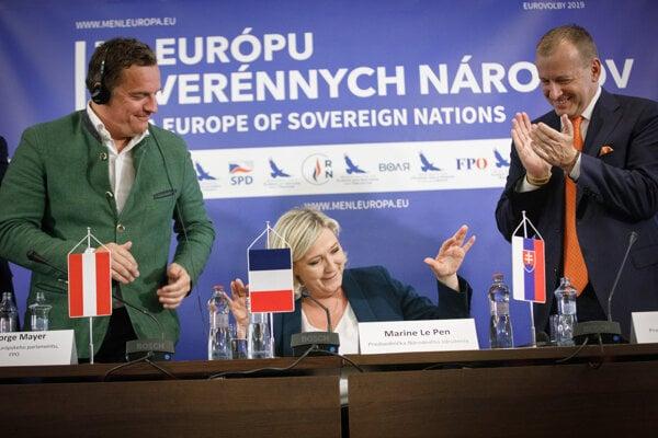 George Mayer, Marine Le Pen, and Boris Kollár in Bratislava.