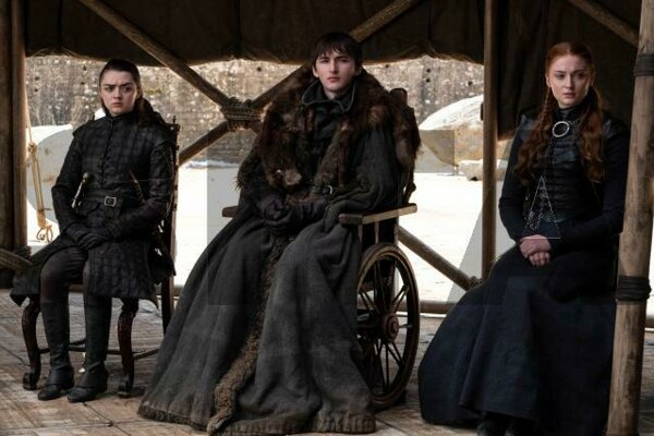 "Maisie Williams, Isaac Hempstead Wright and Sophie Turner in a scene from the final episode of ""Game of Thrones,"" which aired on May 19, 2019."