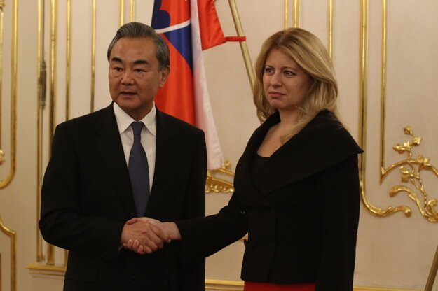 Wang Yi and Zuzana Čaputová