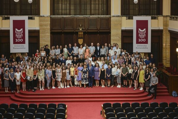 Foreigners attending the 55th year of the Slovak language summer school.