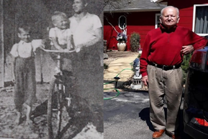 (Left) Demeter Kokosh at age 7, his brother John 3 and uncle Peter in 1939. (Right) Mr Kokosh today.