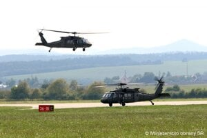 Two new Black Hawk helicopters land at the Sliač airport, central Slovakia.
