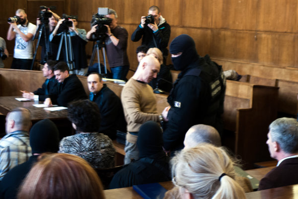 Sentenced Jozef Roháč in Hungarian courtroom.