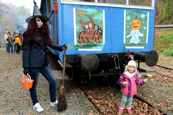 Children celebrate Pumpkin Saturday at the Košice Children's Heritage Railway on November 2, 2013