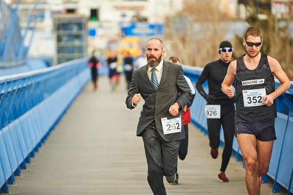 People takes part in the New Year's Eve Run in Bratislava on December 31, 2018. The event returns to the capital for the 31st time this year