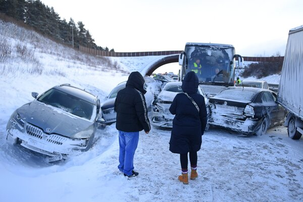 A road accident occurs on the D1 highway near Poprad, eastern Slovakia, on January 5, 2020