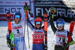 From left: Slovakia's Petra Vlhova, Italy's Federica Brignone and third placed United States' Mikaela Shiffrin celebrate at the finish area at the end of an alpine ski, World Cup women's giant slalom in Sestriere, Italy.