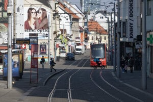 The normally busy Obchodna Street in central Bratislava.