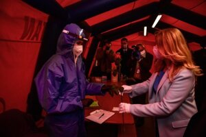 President Zuzana Čaputová visited several places around Slovakia to thank the people in the front line. Here she is pictured in the COVID-19 tent at Trnava hospital.