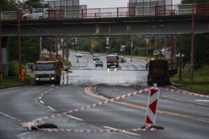 The flooded Gagarinova Street in Bratislava.