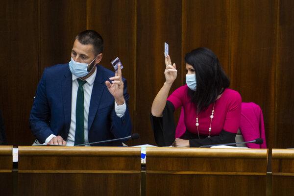 SaS MPs Marián Viskupič and Jana Bittó Cigániková took out their cards to prevent voting.