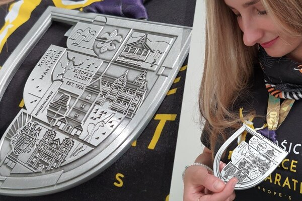 The visualisation of this year's Košice Peace Marathon medal.