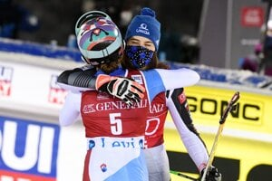 Second placed Michelle Gisin of Switzerland, left, congratulates winner Petra Vlhová of Slovakia at the end of of the FIS Alpine Ski World Cup women's slalom race at the Levi ski resort in Finland on November 22.