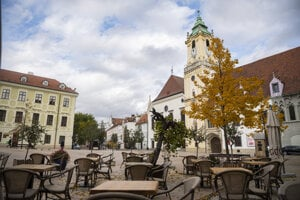 The emptied streets of Bratislava in late October when the curfew was applied.