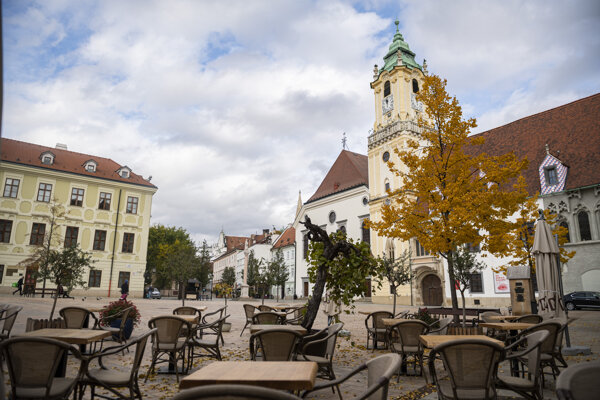 The emptied streets of Bratislava.