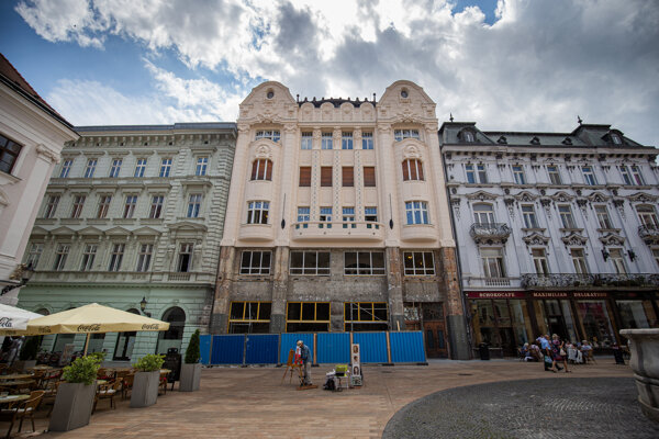 The Art Noveau Roland's Palace is one of the most beautiful buildings flanking the Main Square in Bratislava