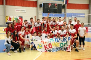 Rieka UJS Komárno volleyball players win their first championship title on April 7, 2021.