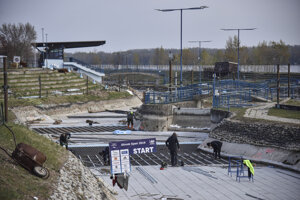 Reconstruction of the white-water slalom canal at the Divoká Voda water sports complex in the Čunovo borough of Bratislava on April 20, 2021.