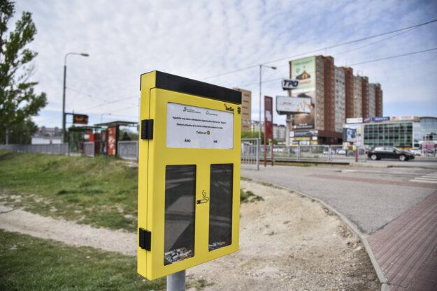Ballot bins in Petržalka hopefully teach smokers to not litter.