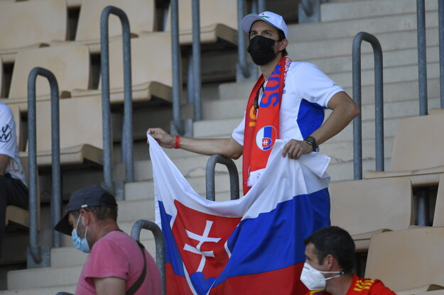 Slovak fans are getting ready for the football match against Spain.