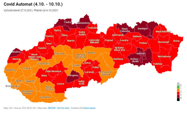 The map of districts based on Covid automat from October 4.