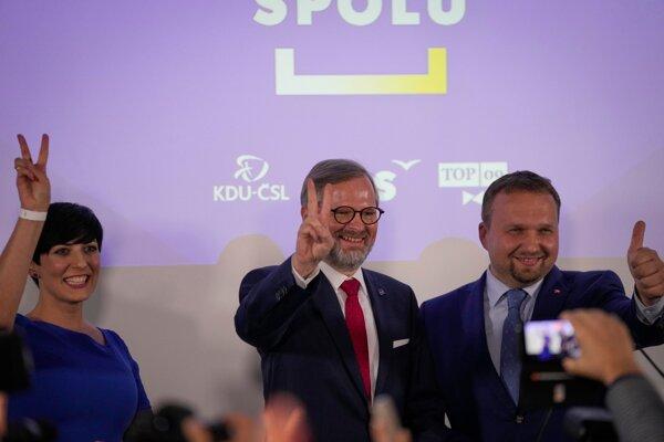 The leaders of three parties that are part of the winning coalition Spolu; l-r: Markéta Pekarová Adamová of TOP 09, Petr Fiala of ODS and Marian Jurečka of KDU-ČSL.