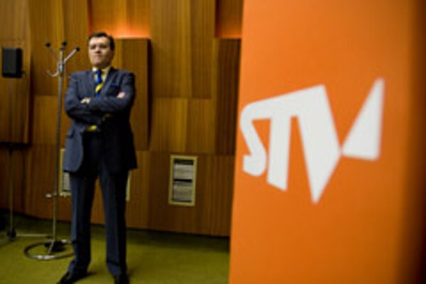 Man on a mission: Slovak Television's new general director Štefan Nižňanský, who was elected on April 16.  The former communist-era journalist and news anchor fills a post which has been vacant since last December.