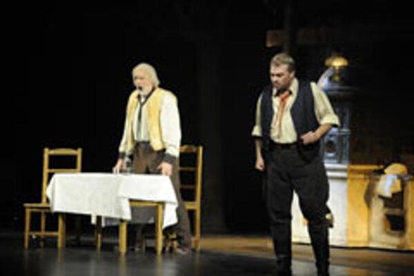 Miroslav Dvorský (left) and Ján Galla in a scene from Krútňava.
