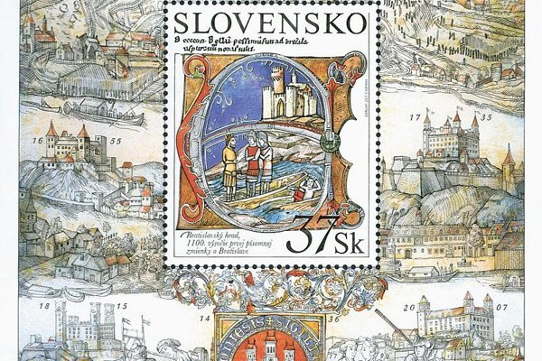 The award-winning stamp, showing Bratislava Castle.