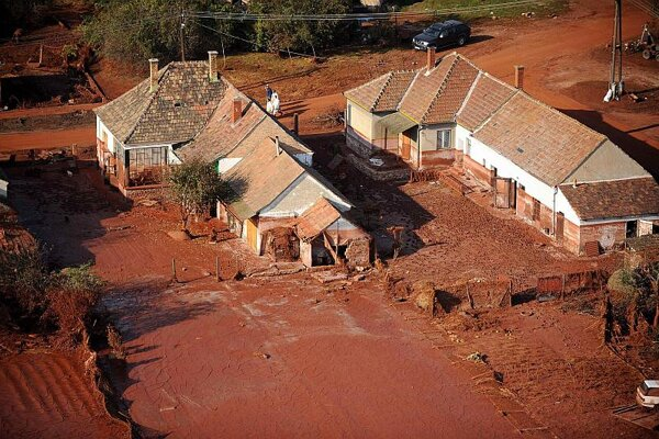 Houses damaged by the toxic red sludge in Hungary.