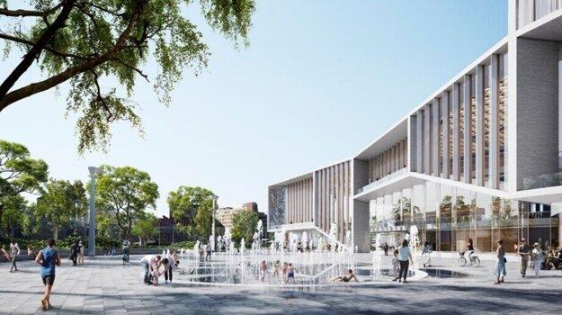Vizualizácia námestia pred novým Istropolisom.