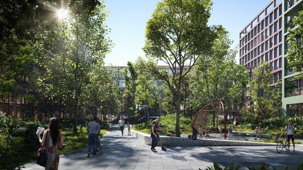 Zelený komunitný priestor v okolí Nového Istropolisu.