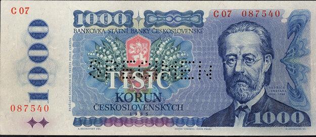 Bankovka v hodnote 1000 Kčs z roku 1985