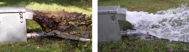 Voda z vodovodného potrubia v Drahovciach pred čistením (vľavo) a po vyčistení metódou COMPREX®.