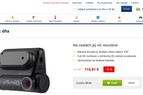 Trhák dňa AlzaSK predáva autokameru MIO o 40E lacnejšie