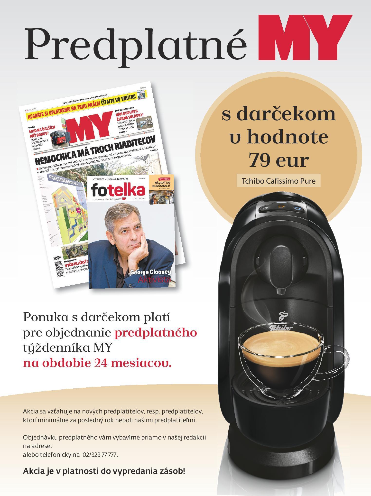 Za predplatné týždenníka MY Prešovské noviny kávovar zadarmo